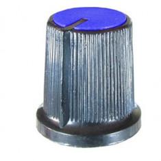 Buton pentru potentiometru, 15mm, plastic, negru-albastru, 15x15mm - 127034