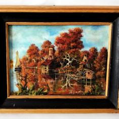 Tablou Agapie Peisaj de Toamna pictura în ulei pe panza 40x49cm, Peisaje, Realism