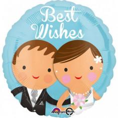Balon nunta din folie 43cm Best Wishes