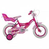 Bicicleta roz cu roti ajutatoare BMX, Diametru roti 12 inch, 3-5 ani