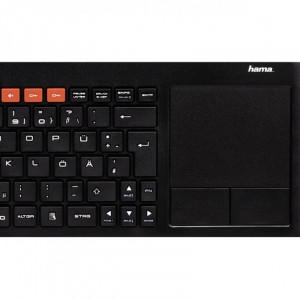 Tastatura wireless pentru Smart TV Hama Uzzano 3.0, taste media, Negru