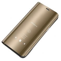 Husa Samsung Galaxy S9 Plus - Flip Clear Mirror View Gold