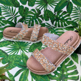 Cumpara ieftin Sandale aurii bronz moi si elegante cu pietricele pt fetite 25 27 cod 0787, Fete
