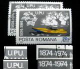 Varietate(1), eroare la marca postala de 20 bani Centenar UPU, 1974, Nestampilat