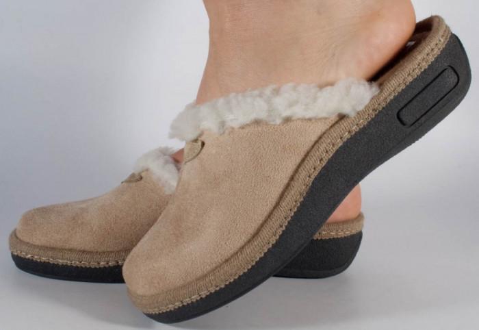 Papuci de casa bej din plus (cod 1961-3-2)