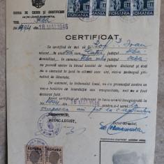 DOCUMENTT VECHI 1946 - CERTIFICAT CAZIER - TIMBRE FISCALE SI JUDICIARE- AMPRENTA