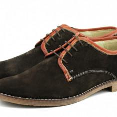 Pantofi barbati casual - eleganti din piele naturala intoarsa maro - PA80MMVEL