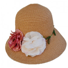 Palarie trendy de dama pentru vara, culoare bej cu flori bicolore