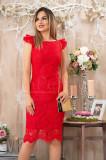 Rochie eleganta rosie cu volane la maneci