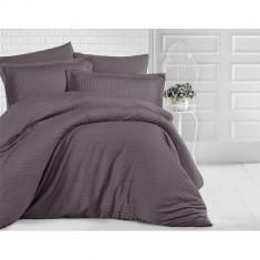 Lenjerie de pat pentru o persoana cu husa de perna dreptunghiulara, Elegance, damasc, dunga 1 cm 130 g mp, Kahverengi, bumbac 100%