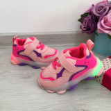 Adidasi roz mov usori cu luminite beculete LED pt copii fete 20 22