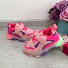 Adidasi roz mov usori cu luminite beculete LED pt copii fete 20