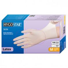 Manusi latex Skin marimea M, albe, 100 bucati/cutie, usor pudrate