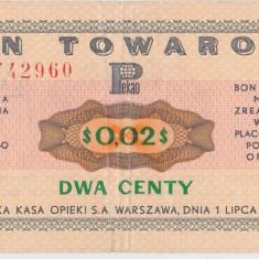 POLONIA $0,02 CENTS BON TOWAROWY 1969 VF