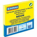 Cumpara ieftin Notite Adezive DONAU, 76x76 mm, 100 File, 70 g/m², Culoare Galben Neon, Notes-uri, Post-it, Articole Hartie, Accesorii Birou