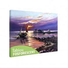Tablou fosforescent Barca cu panze la malul apei