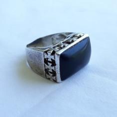 INEL argint cu ONIX ornat cu CRUCI de MALTA rar VECHI manopera EXCEPTIONALA