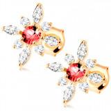 Cumpara ieftin Cercei din aur galben de 9K - floare cu rubin roșu și zirconii transparente