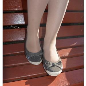Pantof gri tip balerin, din panza de calitate cu aspect de blug
