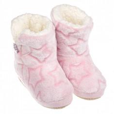 Papuci de dama, model cizme imblanite cu stelute, marime 37-38, roz