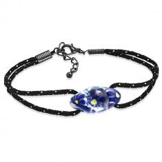 Brățară neagră din șnur și bilă ovală FIMO, flori albastre - Lungime: 220 mm