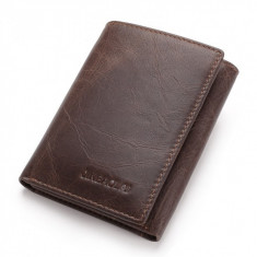 Portofel pentru barbati Jinbaolai, PT199, Piele naturala, calitate Premium, model maro inchis