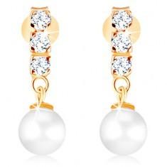Cercei din aur 375 - trei zirconii transparente, perlă rotundă în nuanță albă