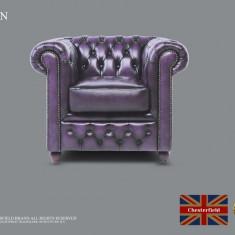 Fotoliu din piele naturală-Violet antique-Autentic Chesterfield Brand