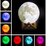 Moon Lamp 3D 15cm Lampa Luna LED Multicolor Stand Lemn USB