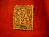 Timbru Noua Caledonie 1892 , 2C brun  / timbru Alegorie Franta ,stampilat