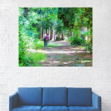 Tablou Canvas, Oameni plimbandu-se pe alee - 20 x 25 cm