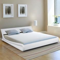 Cadru de pat ondulat, piele artificială, 180 x 200 cm, alb