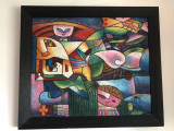 Tablou,pictura  moderna,germana,inramata, Nonfigurativ, Ulei, Art Deco