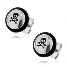 Cercei din oțel - craniu negru, oase încrucișate, inel de cauciuc - Simbol: Craniu cu dinți