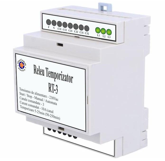 Releu temporizator pentru iluminat cu trei canale cod RT-3