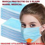 Set 50 bucati Masti faciale protectie, de unica folosinta, 3 straturi, 3 pliuri