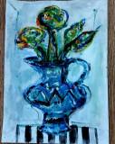 Pictura / Vas cu flori, Abstract, Tempera, Fauvism, General