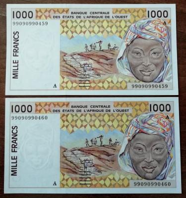 Africa de Vest - Lot 2 x 1000 Francs ( Franci ) 1991 - aUNC - consecutive foto