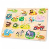 Puzzle lemn Safari 17 piese NEW, New Classic Toys