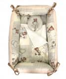 Cumpara ieftin Reductor Bebe Bed Nest cu paturica si pernuta antiplagiocefalie Deseda Ursi in carouri bej