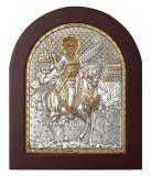 Icoana Sfantul Mina,Foita Argint 925,15.6x19 cm Cod Produs 1403