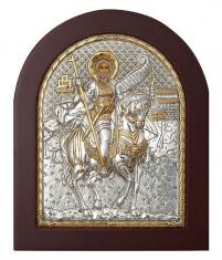 Icoana Sfantul Mina Foita Argint 925 15.6x19 cm Cod Produs 1403 foto