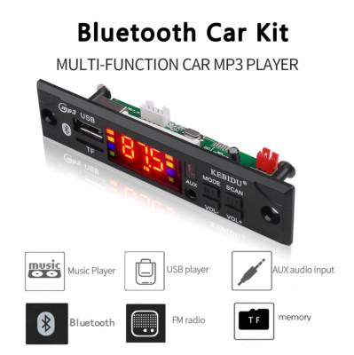 Modul mp3 cu slot pentru sd card usb radio fm bluetooth telecomanda auto 12V NOU foto