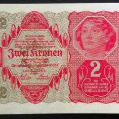 Bancnota ISTORICA 2 COROANE - AUSTRO-UNGARIA (AUSTRIA), anul 1922   *cod 855 B