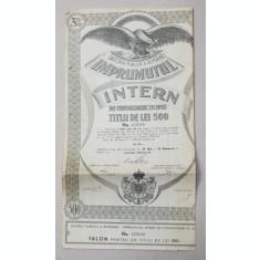 DATORIA PUBLICA A ROMANIEI - IMPRUMUTUL INTERN , TITLU DE 500 LEI , EMIS DE MINISTERUL FINANTELOR IN 1935