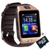 Smartwatch iUni DZ09 Plus, Camera 1.3MP, BT, 1.54 Inch, Auriu + Card MicroSD 8GB Cadou