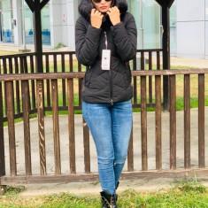 Jachetă groasă cu glugă imblănită și vatelină, neagra, S,M,L,XL,XXL