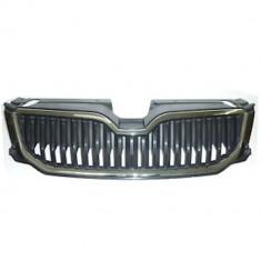 Grila radiator, masca fata Skoda Octavia (5e), 01.2013-05.2017, parte montare centrala, complet, crom/negru, cu ornament cromat, 69C105-3, Aftermarket