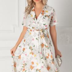 Rochie Margi alba cu buline si imprimeu floral orange