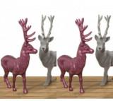 Set 4 decoratiuni Josa Deer - Boltze, Gri & Argintiu,Roz